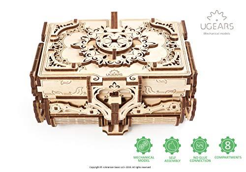 UGEARS Antieke Doos 3D-model Kit Houten Kist - 3D Houten Kit Schatkist - 3D Puzzel Volwassen Doos - Originele Juwelendoos Mechanisch Model voor Tieners en Volwassenen - Juwelendoos