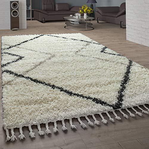 Paco Home Alfombra desgreñada Sala de Estar Alta Pila de Diamantes patrón skandi diseño Vers. Colores y tamaños, tamaño:60x100 cm, Color:Crema