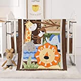 BAIGIO Juego de ropa de cama para bebé de 7 piezas con faldón de cama, edredón de 80 x 100 cm, protector de cuna de algodón para bebé, juego de ropa de cama infantil OekoTex (fiesta con animales)