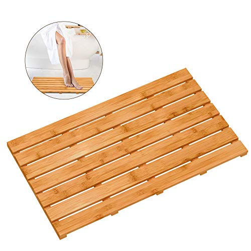Bamboo Wooden Bath Floor Mat for Luxury Shower - Non-Slip Bathroom Waterproof Carpet for Indoor or Outdoor Use (31.3 x 18.1 x 1.5 Inches)