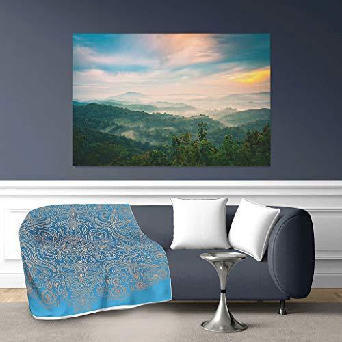 O2ECH-8 vleermuisdeken korenbloem blauw mandala-thema print sherpa oversized plafonds - super comfort voor lunch