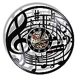 TAOLILI Reloj de Pared Música Arte de Pared Clave de Sol Disco de Vinilo Reloj de Pared Colgante Partituras Arte Reloj Vintage Rock n Roll Regalo de Amante de la música-SIN luz LED