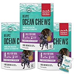 PACKAGE INCLUDE: Three (3) The Honest Kitchen Wolffish Ocean Chews Grain Free Dog Chew Treats (6 oz each) and 10ct Pet Faves Wipes. DENTAL DOG TREAT: Gnawing on these longer lasting dental chews can help clean teeth and support healthy gums. HUMAN GR...