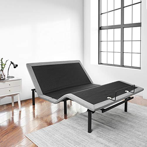 RUUF Adjustable Bed Base Queen, Independent Head and Foot Incline Control by Wireless Remote, Smooth Silent Operation, No Tools Required Assembly