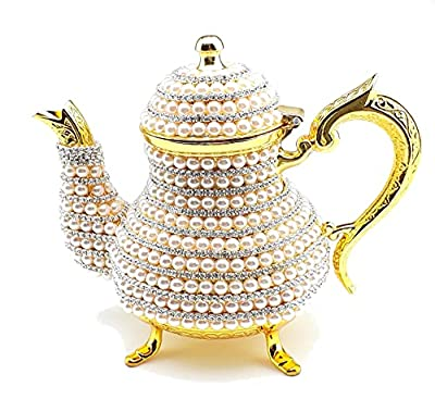 CooperEagle Luxurious Copper and Brass Teapot Kettle Decorated with Crystals and Pearls Resistant to High Temperatures For Elegant Serving