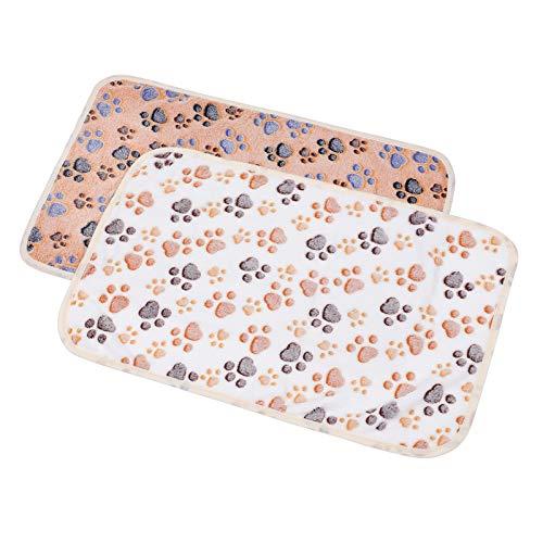 Balacoo 2er Pack Hundedecken für kleine Hunde-Haustierdecke warme Hundekatze-Fleecedecken Schlafmattenauflage Bettdecke mit Pfotenabdruck weiche Decke für Kätzchenwelpen und andere kleine Tiere
