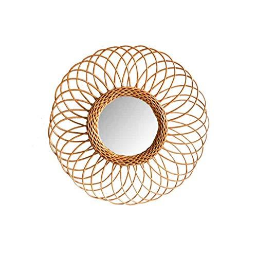 LZYANG Espejo Decorativo de Mimbre Espejo de ratán nórdico Espejo de baño de Cocina Espejo de baño Espejo de embarque Hecho a Mano Espejo Decorativo para Colgar en la Pared Fotografía