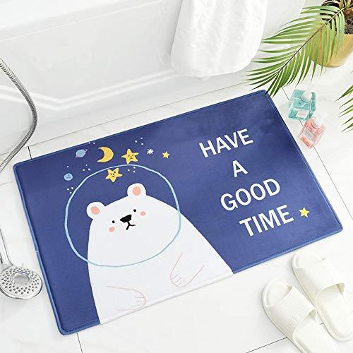 Badmat, absorberend, absorberend, wateropname, keukenkleed, badkamertapijt, langzaam, rechthoekig, 50 x 80 cm, beer, donkerblauw