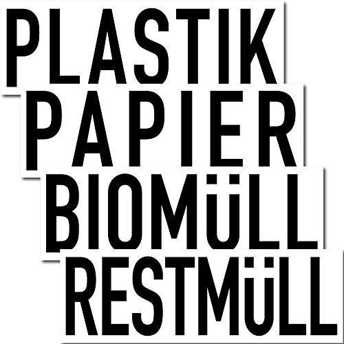 GreenIT Aufkleber Sticker 20cm Papier Restmüll Plastik Bio Mülleimer Mülltonne Müll Kontainer (4er Set)