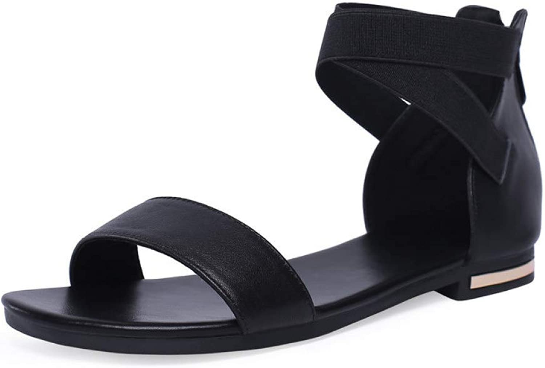 JOYBI Womens Flats Sandals Comfort Cover Heel Zipper Summer Non-Slip Ankle Cross Strap Block Low Heeled Sandal