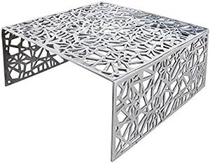 Casa-Padrino Mesa de Centro Art Deco Metal Plateado 75 x 35 cm Mesa Art Nouveau - Sala de Estar de Muebles
