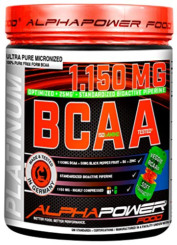 ALPHAPOWER FOOD I BCAA Branched Chain Amino Acids I Vegan & Unflavoured - 5750mg per Serving I 400 Soft Tablets + B6 + Zinc - 500g