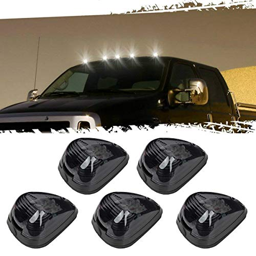 5pcs Black Smoked Lens White LED Cab Roof Top Marker Lamp Clearance Running Light For 1999-2016 Ford E/F (Smoked Lens with White LED)
