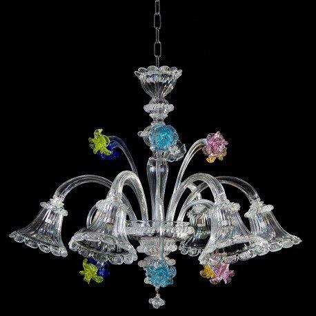 Pergolesi Murano Glas Kronleuchter 6 Kristall-und Multicolor-Leuchten