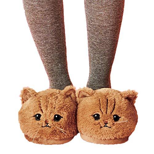 HAIBI Winter Pantoffeln Süße Plüsch Kätzchen Weiche Tier Katze Frauen Plüsch Hausschuhe Damen Haus Schlafzimmer Hausschuhe, Runde Augen, 12
