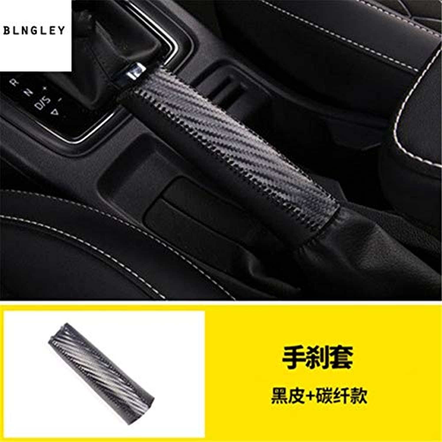 1pc PU Leather Parking Brake Hand Brake Cover for 2018 Skoda KAROQ car Accessories  (color Name  Black)
