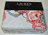 Ralph Lauren Isadora Floral Full / Queen Duvet Cover with Pillow Shams - Set 3 Piece Red Blue Green Black White