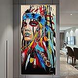 Carteles e impresiones de arte indio colorido abstracto lienzo pintura impresión arte de pared para la decoración del hogar de la sala de estar 60x120 CM (sin marco)