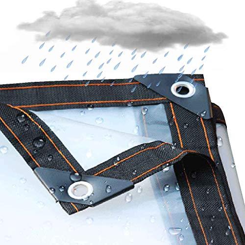 NMRCP Lona Impermeable Transparente, Lona Alquitranada Tela Exterior Protector Solar A Prueba De Lluvia Transparente Resistencia Al Desgarro Plegable Ojal De Metal, 24 Tamaños,1mX1m/3.3x3.3ft