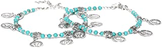 Prita Designer Silver Plated Latest Adjustable Traditional Payal Anklets Pair for Women and Girls with Turquoise Blue Beads