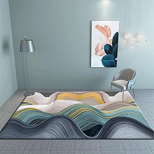 Multicolor Alfombras Grandes Baratas Infantiles Moderno Minimalista geométrico Abstracto patrón Ondulado Agua...