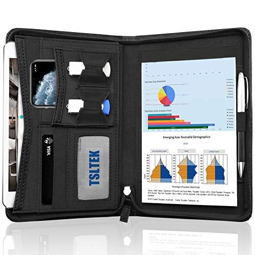 TSLTEK Leather Small Portfolio Portfolio Case-Zippered Portfolio Folder/Business Padfolio for Men & Women,5 x 8 Mini Writing Pad Included (Black)