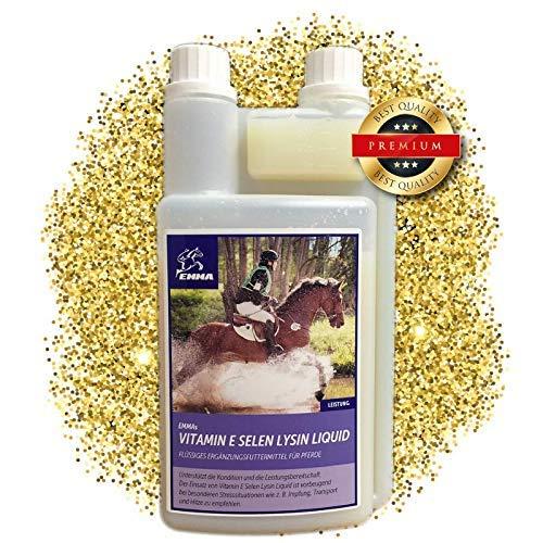 EMMA® Vitamine E Selenium Lysine voor paarden I Mineraalvoederpaarden I Spieropbouwpaard I Booster Energie I Voer voor senioren I Paardenvoer 1 L