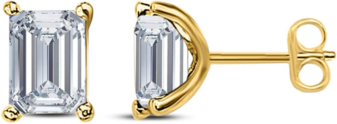 Gems and Jewels Round Alloy 14k Yellow Gold Plated 0.50 Ct Emerald Cut Crystal White CZ Stud Earrings For Girls and Women's