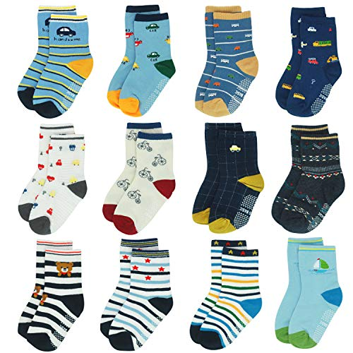 12 Pairs Toddler Boy Girl Socks Non Skid 3-5 Years Infant Baby Grips Socks Anti Skid Cotton Cute Cartoon Car Kid Socks