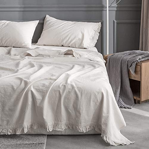 Simple&Opulence Belgian Linen Sheet Set with Ruffles - 3 Pieces (1 Flat Sheet & 1 Fitted Sheet & 1 Pillowcase) Natural Flax Cotton Blend Soft Bedding Breathable Farmhouse - Linen, Twin Size