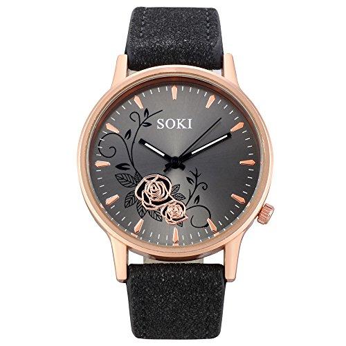 Armbanduhr Damen Ronamick Frauen Mode Leder Band analoge Quarz runde Armbanduhr Armband Uhr Uhren (A)