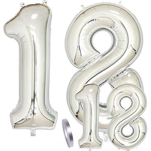 cholinchin Globos Número 18 Cumpleaños XXL Plata -Globo de lámina Gigante en 2 tamaños 40 'y 16' | Set 100cm+Mini 40cm Version Decoraciones de cumpleaños |Ideal para el 18 como decoración.