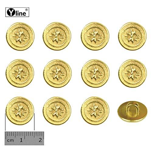 12 oogknoppen, kunststof goudkleurig 15 mm, voor het naaien van oogjes blouses kostuum sieraad knop, 3127-01-1.0