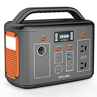GOLABS Portable Power Station, 256Wh LiFePO4 Battery Backup, 200W Pure Sine Wave AC Outlet with PD 60W/ Type-C 30W QC3.0, Solar Generator for Outdoors Camping Hunting Travel Emergency (Orange)