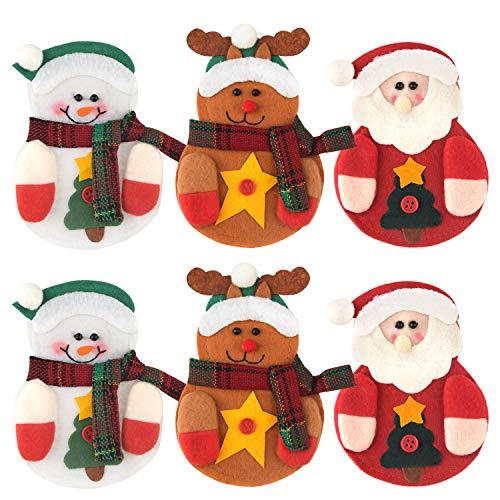 TUPARKA 6 unids Bolsas Cubiertos de Navidad Navidad Platos Tenedores Cuchillo Tenedor Vajilla Bolsillos Decoración del Partido de Navidad 3 Estilos