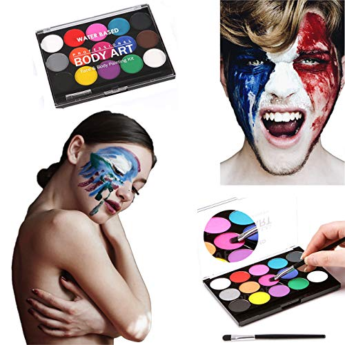 CCbeauty 15 Colors Water Based Face Body Paint Special Effect Makeup with 2 Art Bruhses,4 Sheets Stencils and 9 Sheets Nail Stickers