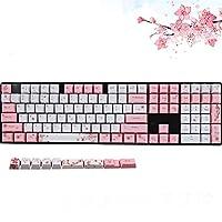 PBTチェリーキーキャップ104キーセット、キーキャップ87/104/108キーは、メカニカルキーボード、ゲーミングキーボードに適しています (桜粉)