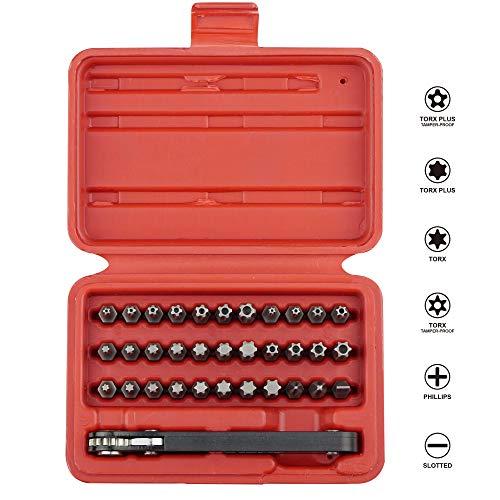 KAIFNT K403 Comprehensive Torx Bit Set with Mini Ratchet Wrench, 1/4-Inch Drive, 34-Piece