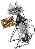 BRUBAKER Weinflaschenhalter Katze Flaschenständer Deko-Objekt Metall mit Grußkarte für Weingeschenk