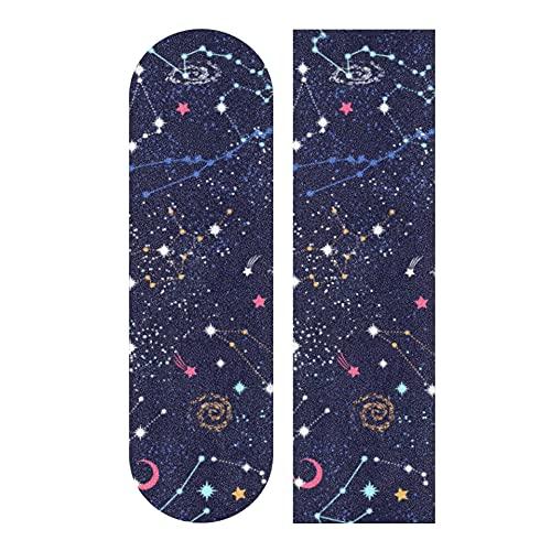 33.1x9.1 Pulgadas Deporte al Aire Libre Longboard Griptape Mapa del Cielo en la Noche Star Constellation Print Papel de Lija Longboard Impermeable para Tablero de Baile Cubierta de Tablero de balancí
