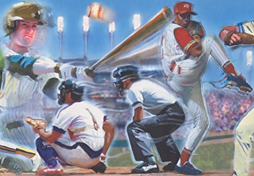 Retro Art Baseball Spieler Schiedsrichter Krug Teig Ball Park Vintage Wallpaper Border Retro-Design, Roll-15' x 10