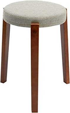 Dall Round Stool Solid Wood Living Room Small Chair Home Fabric Dining Table Bench (Color : T6)