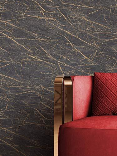 NEWROOM Tapete Schwarz Vliestapete Marmor - Marmortapete Glamour Anthrazit Gold Muster Mustertapete Modern inkl. Tapezier-Ratgeber