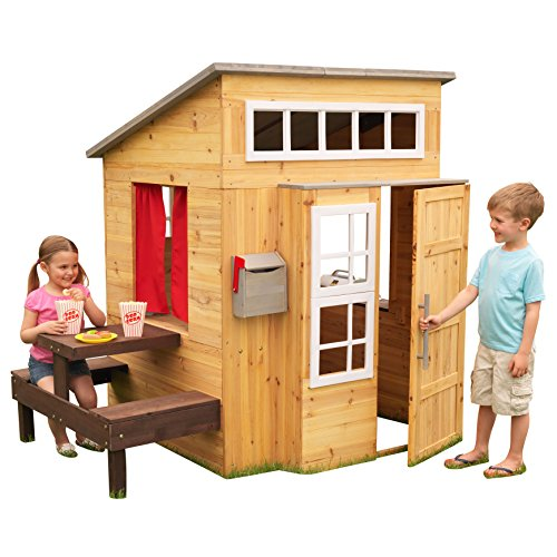 Image of the KidKraft Modern Outdoor Wooden Playhouse with Picnic Table, Mailbox and Outdoor Grill