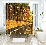 Jerinumkoy 3D Greenwood Strada E Campo di Grano Modello Impermeabile Bagno Ispessita Tende Doccia Vasca Color C W165 x H180cm