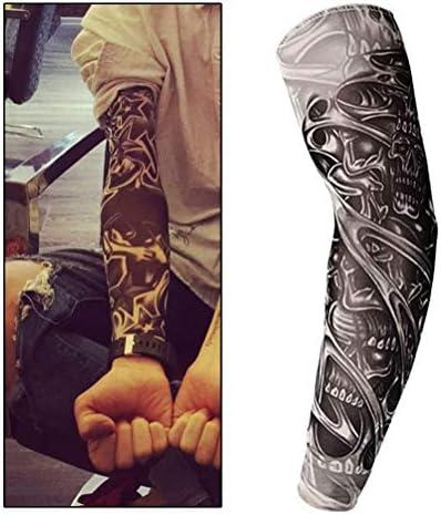 nuoshen Fake Tattoo Arm Sleeve, Nylon Elastic Arm Stockings Halloween Tattoo Biker Basketball Sun Block Sleevelet