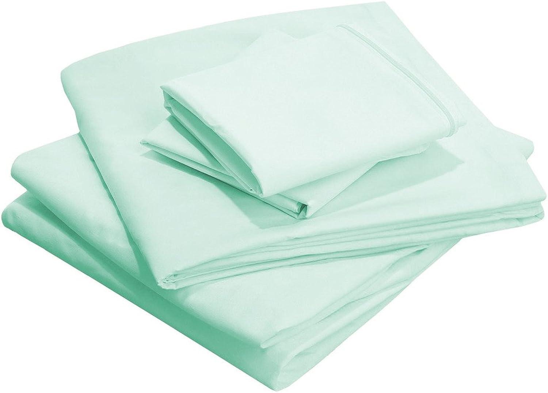 Scalabedding 63,5cm deep Pocket 100% algodón egipcio hilos 400Twin Talla Tabla de Solid Set AQUA