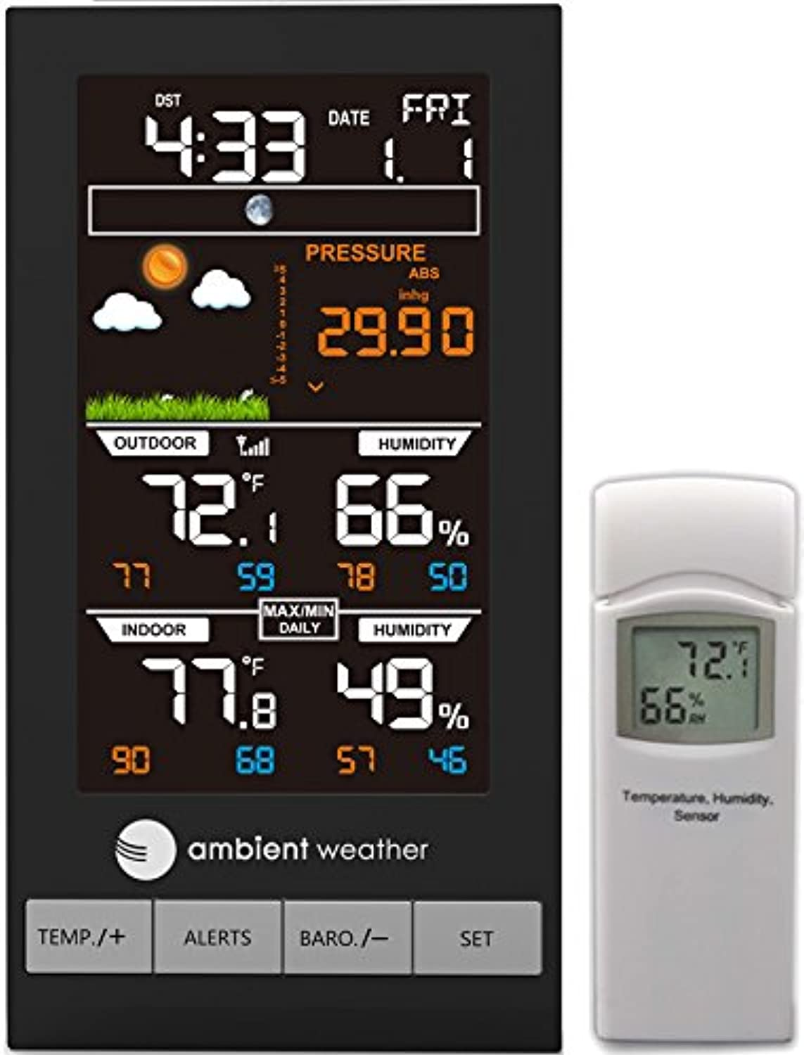 Ambient Weather WS2800 Advanced Wireless color Forecast Station with Temperature, Humidity and Barometer