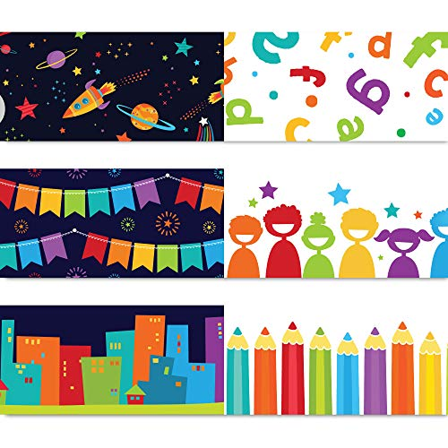 Sproutbrite Bulletin Board Borders - Classroom Decorations - 75 ft - 3 Double Sided Trimmers, Back to School, Growth Mindset Theme Decorative Border Trimmers (Welcome Back To School Library Bulletin Boards)
