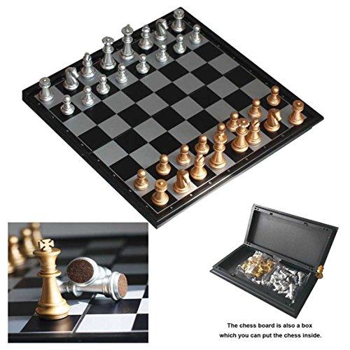 Itian マグネット式 チェス セット ボードゲーム 磁石 本格 チェス盤 折り畳み式 収納ケース型 盤面サイズ25×25×2cm 金銀駒